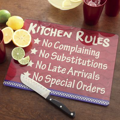 Kitchen Rules Glass Cutting Board