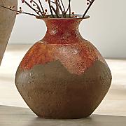 red drip vase