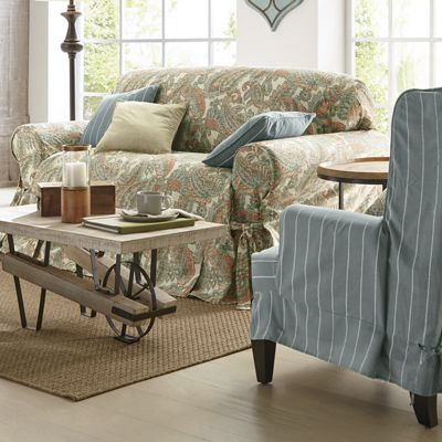 Saville Row Furniture Slipcovers, Pillow Cover and Window Treatments