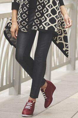 Faux Leather Front Legging