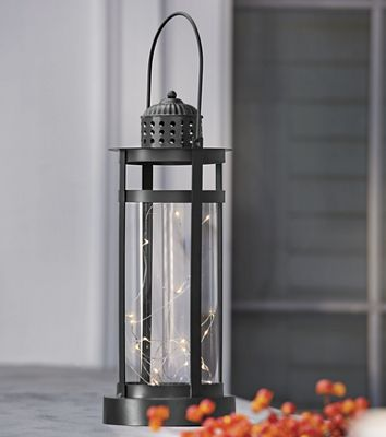 Black Lantern with LED Lights