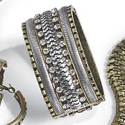 two tone crystal hinged bangle