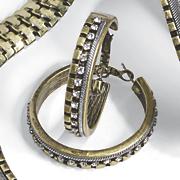 two tone crystal hoops