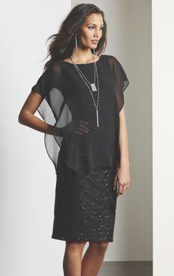 Sheer Overlay Sequin Dress