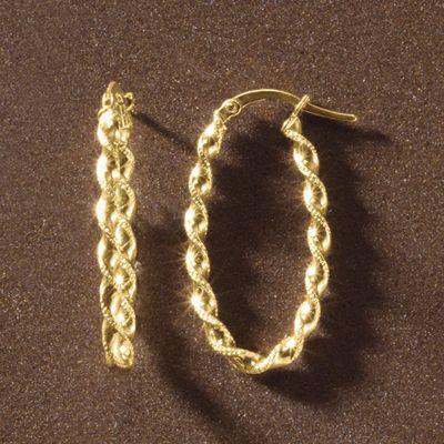 Gold Twist Oval Hoops