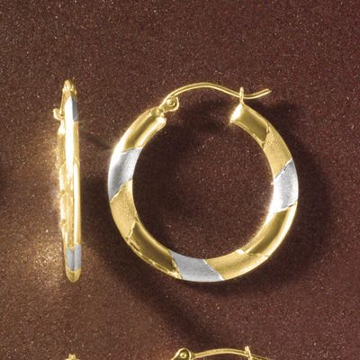 Gold Two-Tone Round Hoops