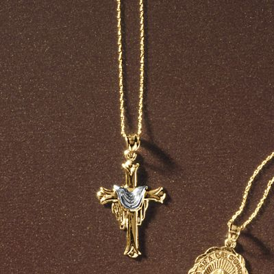 10K Gold Two-Tone Draped Cross Pendant