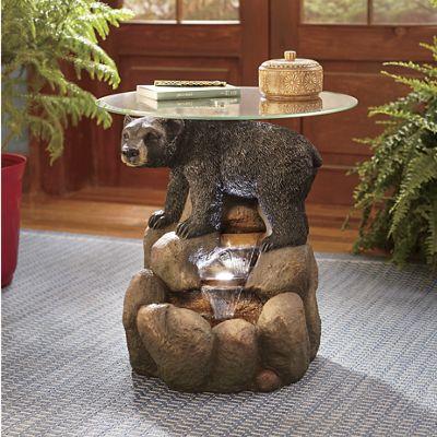 Bear Lighted Fountain Table