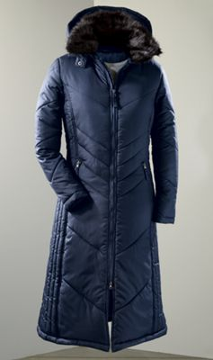 Women's Chevron Quilted Long Coat