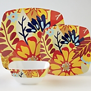 12-Piece Square Melamine Floral Dinnerware Set