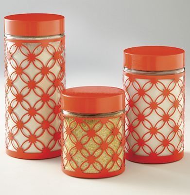 Set of 3 Floral Scroll Glass Canisters