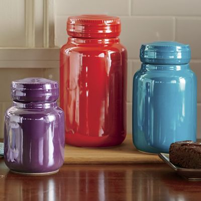 Set of 3 Assorted Metallic Canisters