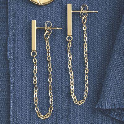 14K Gold Bar/Chain Post Earrings