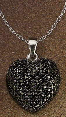 Black Diamond Heart Cluster Pendant