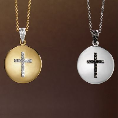 Diamond Cross/Round Pendant