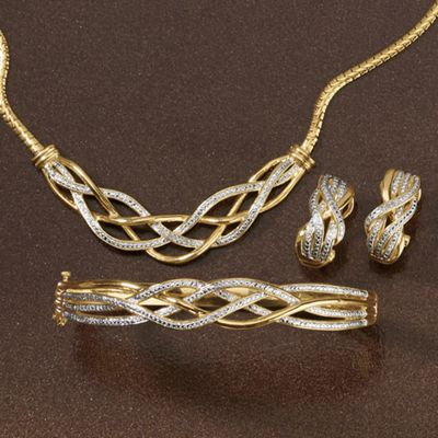 Diamond Necklace, Bracelet and Earrings Set