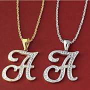 personalized  initial diamond pendant