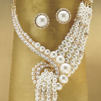 White/Faux Pearl Multistrand Necklace and Earring Set