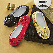 women s sequined footie slippers