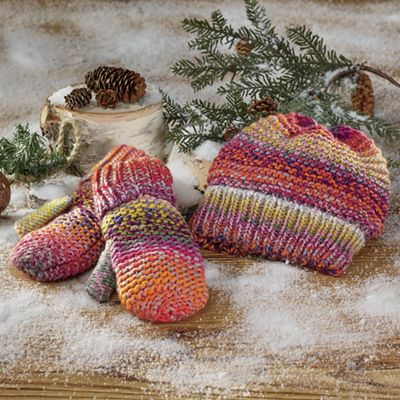 Colorful Ombre Knit Hat & Mittens Set