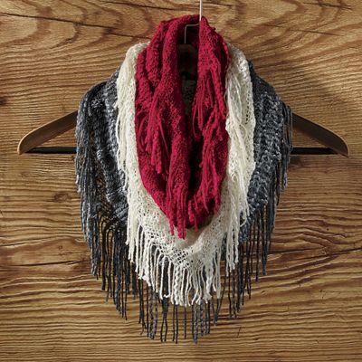 Set of 3 Fringe Knit Infinity Scarves