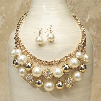 Faux Pearl/Crystal Necklace/Earring Set