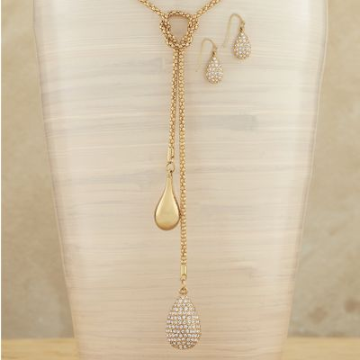 Crystal Pear Necklace/Earring Set