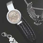 men s stainless steel buffalo nickel bracelet