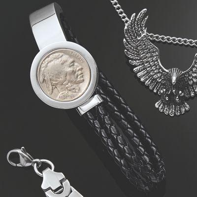 Men's Stainless Steel Buffalo Nickel Bracelet