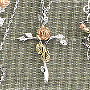 Black Hills Gold Cross with Rose Necklace
