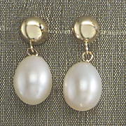 Half-Round Top Drop Pearl Earrings