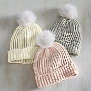Women's Knit Toque Hat with Pom-Pom