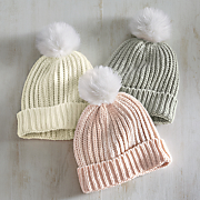 women s knit toque hat with pom pom