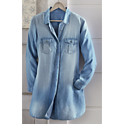 Long-Sleeved Denim Button-Up Tunic
