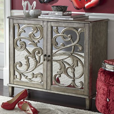 2 Door Mirrored Scroll Front Cabinet From Seventh Avenue