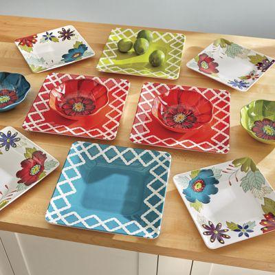 12-Piece Avery Floral Melamine Dinnerware Set