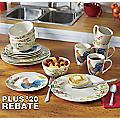 16-Piece Garden Rooster Dinnerware Set by Paula Deen