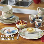 16 pc  garden rooster dinnerware set by paula deen