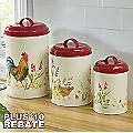 3-Piece Garden Rooster Canister Set by Paula Deen