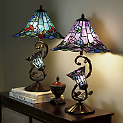 stained glass lilies table lamp with lit base