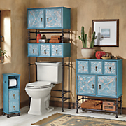 Embossed Floral Toilet Paper Stand Space Saver And Bath Cabinet