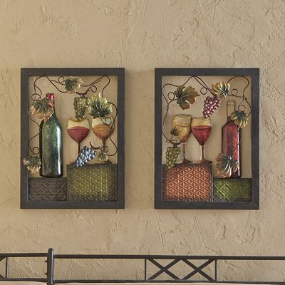 Set of 2 Metal Wine Art