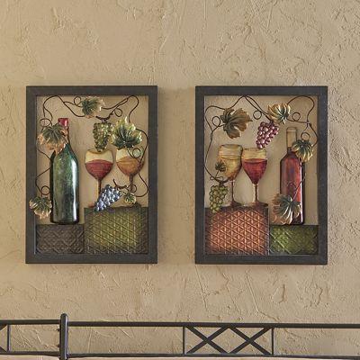 Set of 2 Metal Wine Art