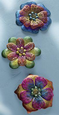 3-Piece Metal Wall Flowers Set
