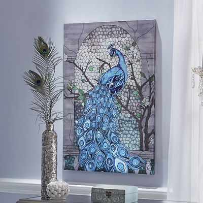 Peacock in Tree Canvas