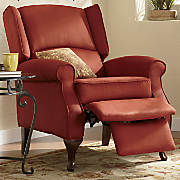 Red Microfiber Wingback Recliner