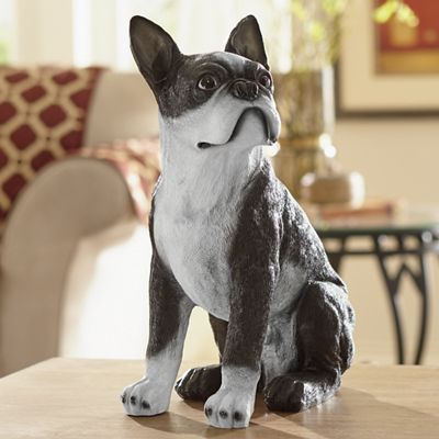 Hand-Painted Boston Terrier Dog Statue