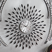black and crystal metal wall clock