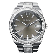 Men's Silvertone Crystal Bracelet Watch by Bulova