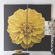 Set of 2 Black Art Panels with Yellow Flower